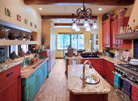 Turquoise and red decor will be my new kitchen colors...: