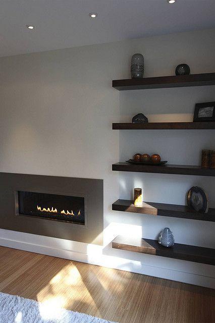 Modern Fireplace By Steve Kuhl Via Flickr Shelves Beside