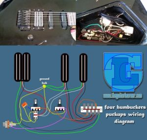 four humbuckers pickup wiring diagram – all hotrails and