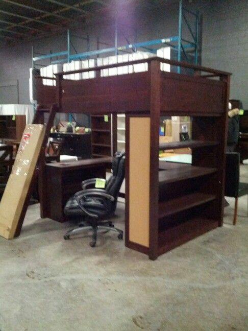 Double Bunk Bed With Desk Underneath Girls Bedroom