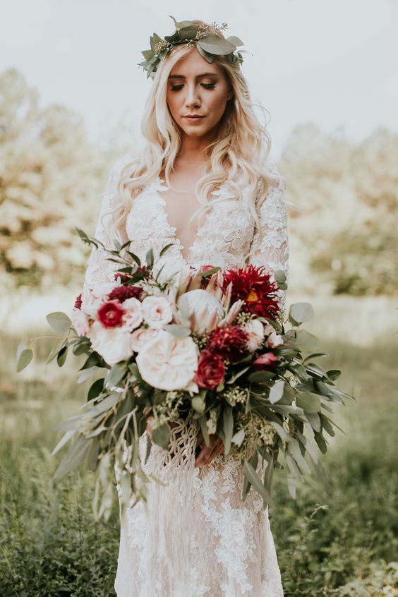 This marsala wedding features countless stunning DIY projects, romantic boho bridal style, and amazing southern rustic vibes.: