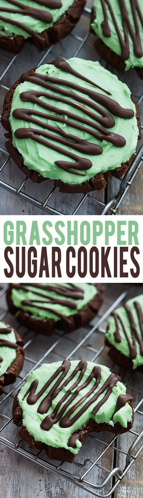 Grasshopper Sugar Cookies Recipe via Creme De La Crumb- moist chocolate sugar cookies with fluffy mint frosting, topped with Andes mint chocolate drizzle!