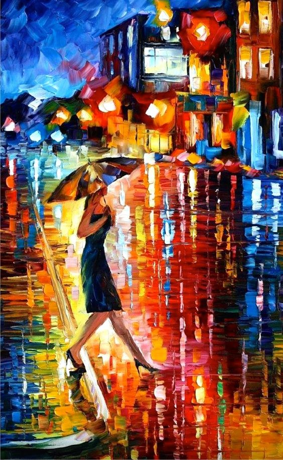 NIGHT STROLL PALETTE KNIFE Oil Painting On Canvas By