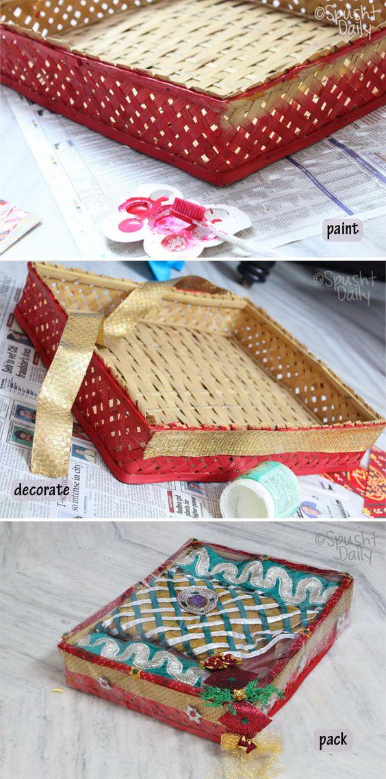 saree packing, packaging a saree, gift a saree, paper pack
