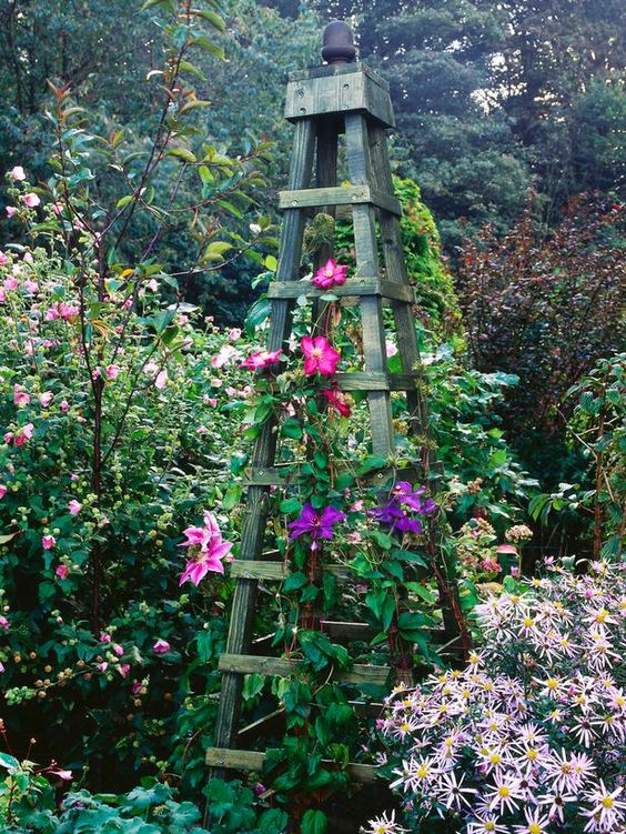 Make an Obelisk for Climbing Plants Gardens, Walkways