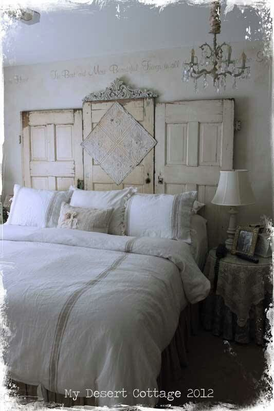 10 best images about Bedroom ideas on Pinterest   Posts  Unique     Repurposed doors headboard   by My Desert Cottage   great salvage project   decorating before and after design ideas