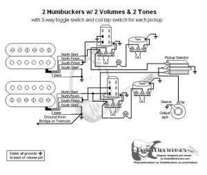 Guitar Wiring Diagram 2 Humbuckers3Way Toggle Switch2 Volumes2 TonesIndividual Coil Taps