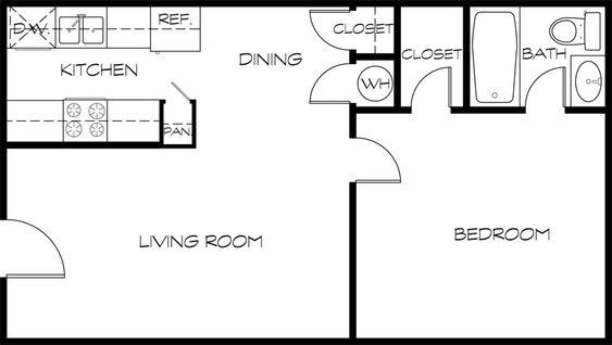 Floor Plan 575 Sq Ft Appartments Pinterest Floor