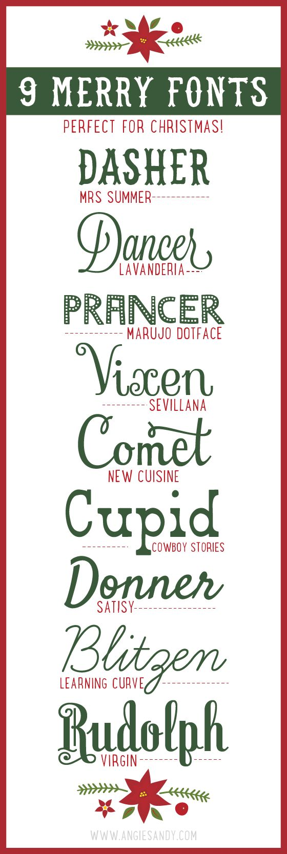 9 Merry Fonts for Christmas Typography, Reindeer and The