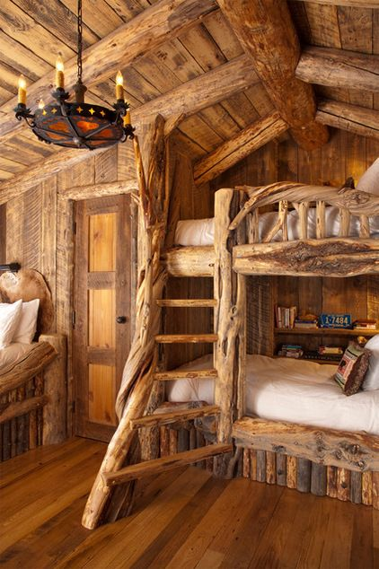 Disney Inspired Rooms Interiors Seven Dwarfs Rustic Style Bedroom with Bunk Beds