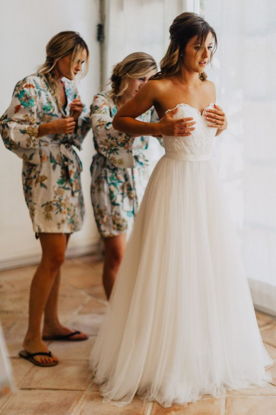 Image by Phan Tien Photography - Destination Wedding At French Chateau With Bride In Wtoo @watterswtoo Bridesmaids In Pretty Plum Sugar Robes And Photography by Phan Tien: