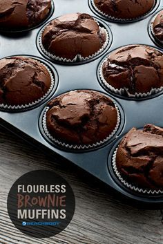These delicious dark chocolate flourless brownie muffins will satisfy your sweet tooth without sabotaging your diet. And they're gluten-free! Click through to get the recipe and find out what the secret ingredient is. // desserts // healthy recipes // cheat clean // gluten free // Beachbody // http://BeachbodyBlog.com: