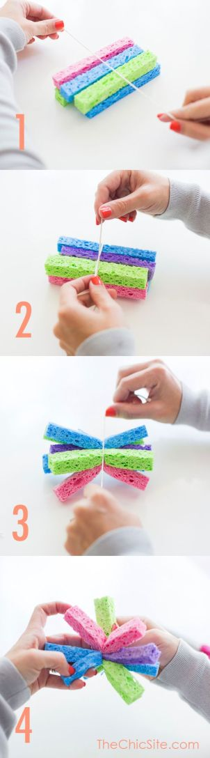 Easy DIY Tutorial on How To make Kids Sponge Water Bombs! Great idea for Summer Kids Parties! www.thechicsite.com: