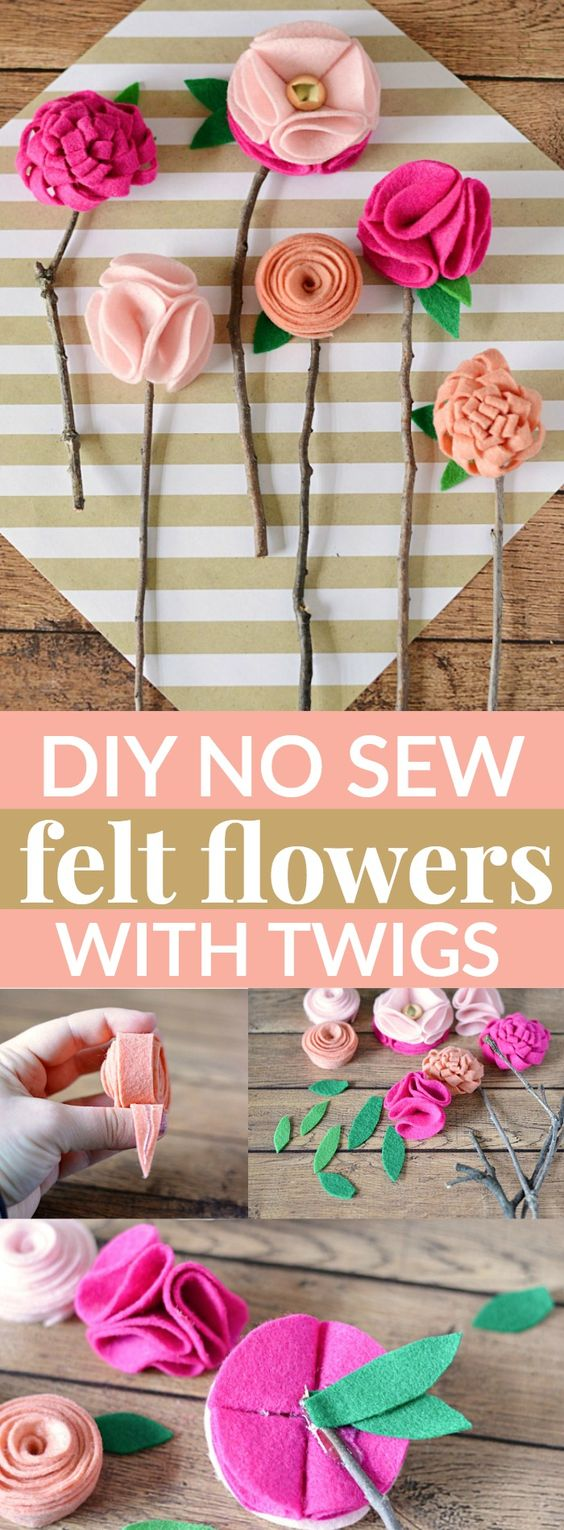 These DIY NO SEW FELT FLOWERS WITH TWIGS are the perfect homemade Mother's Day gift – and the best part is, is that they'll never wilt or die!: