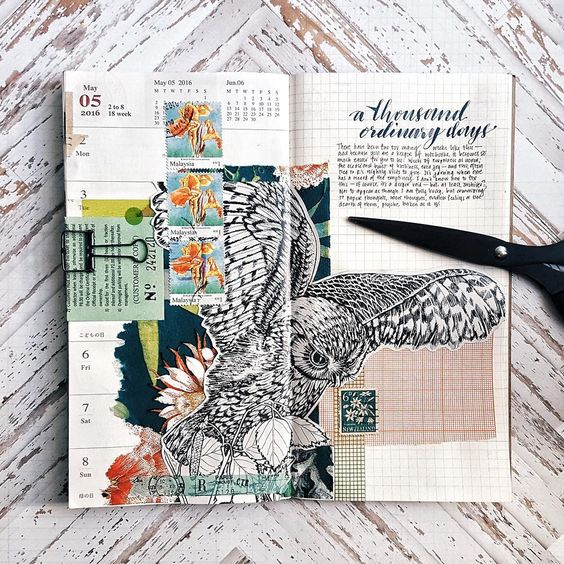 """art journal by othersachas on Instagram. """"For posterity: Week 18. Too little writing, too much sticking-stuff-together-and-only-mildly-hopeful-for-the-best. Too much of life taking its toll on paper.:"""