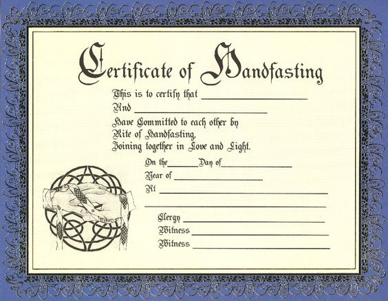 Certificate of Handfasting Handfasting Certificate for Pagan Wedding Gold