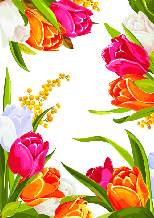 Flower Graphic Design Colored beautiful flowers design