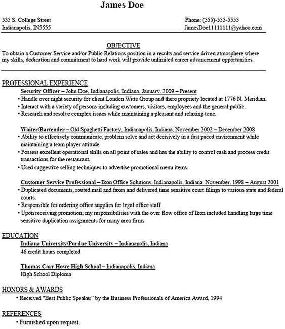 Student Resume Examples For College. College Student Resume