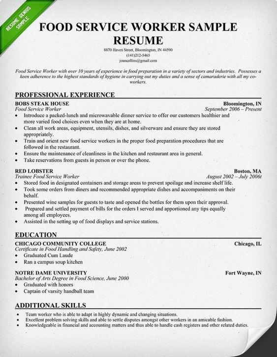 Resume food preparation worker