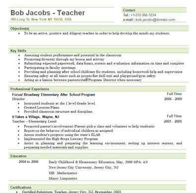teacher resumes elementary teacher and teacher resume template on