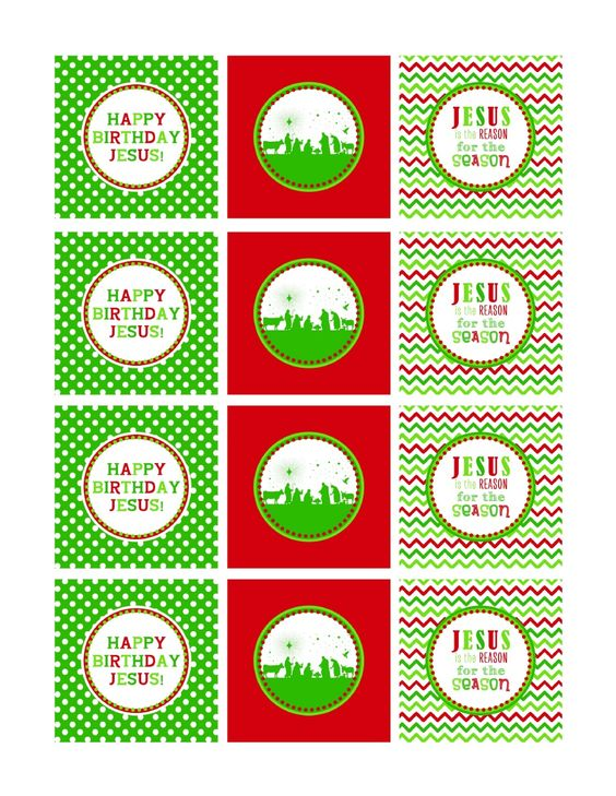 Festive red and green Happy Birthday Jesus cupcake toppers