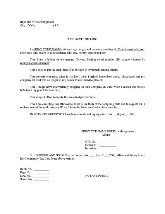 Free Affidavit Template. Free Affidavit Form Sample Pdf Word