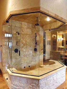 Steam Shower And Custom Tile Separate The His Bath From