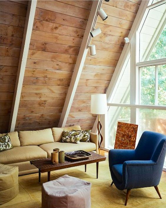 AMAZING A-FRAME HOMES: mid-century #modern living room with #natural