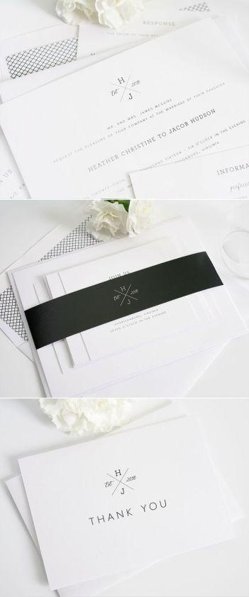 Monogrammed wedding invitations from Shine Wedding Invitations. http://www.shineweddinginvitations.com/wedding-invitations/cross-monogram-wedding-invitations: