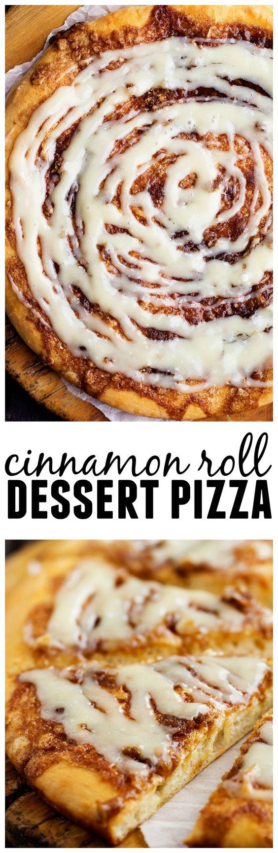 Cinnamon Roll Dessert Pizza Recipe Pizza, Glaze and Cream