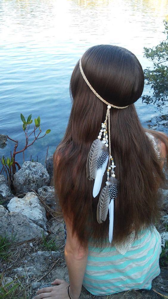Native American Style Feather HeadBand Wedding White