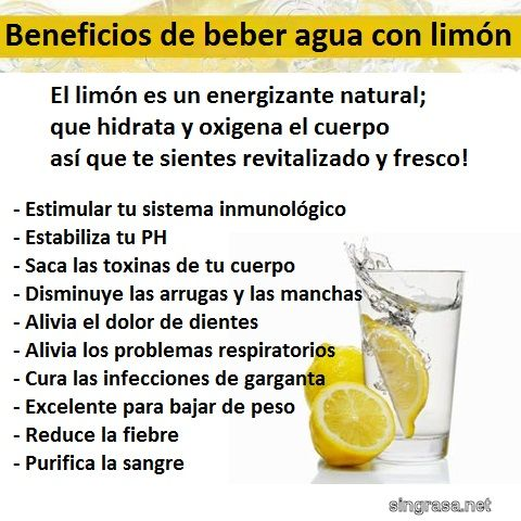 Beneficios de beber agua con limón