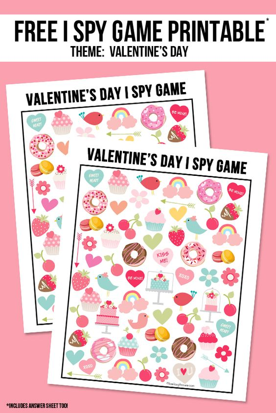 FREE I SPY GAME Valentine's Day Printables via Live Laugh Rowe - The perfect way to entertain the kids for Valentine's Day! This sweet Valentine's Day I Spy Printable come with an answer sheet and answer key too!