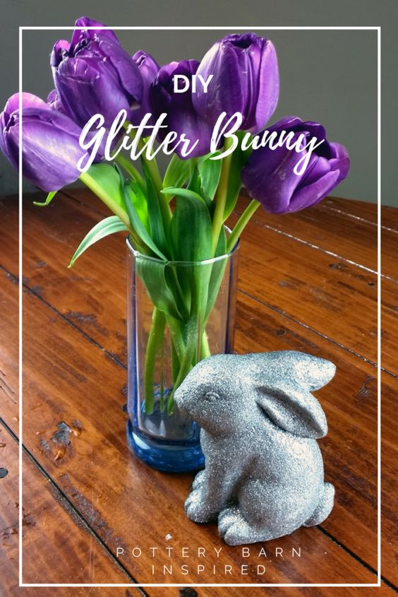 Pottery Barn knock off of the German glitter bunny decor. Easy tutorial to make your own for a fraction of the cost!