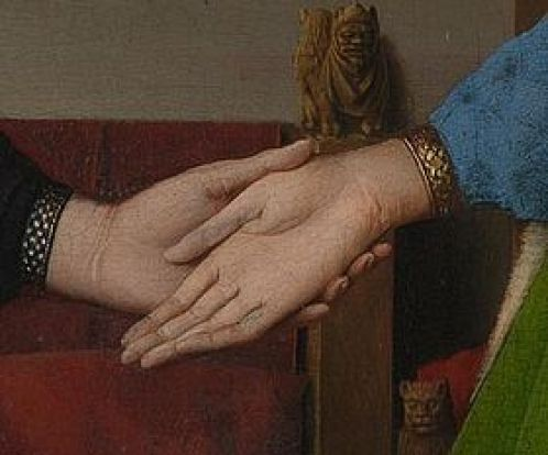 Arnolfini Portrait - Detail showing the couple's joined hands.Van Eyck: