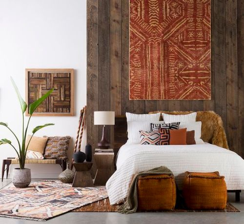 Decor Styles Africa Bedroom with Bold Patterns and Rich Earth Toned Colors