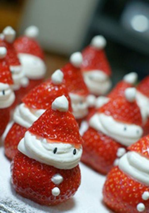 papa noel de fresa, comida de navidad, comida divertida