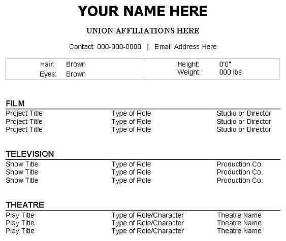 Beginner Acting Resume Example. Sample Acting Resume Template