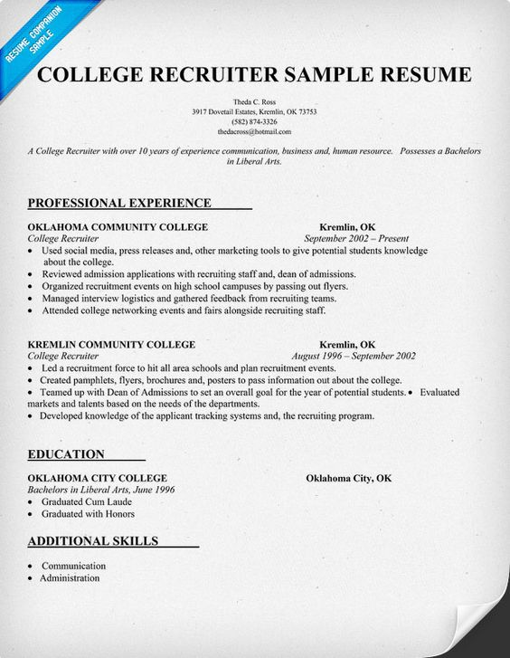 resume examples for college recruiters abca