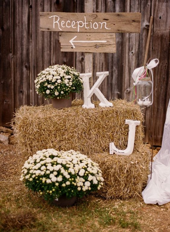 Rustic Wedding Chic - Rustic Country Weddings - Rustic Wedding Ideas and Venue Guide - Maybe Crates instead of Hay: