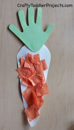 Carrot Easy Easter Craft with Tissue Paper and Handprint