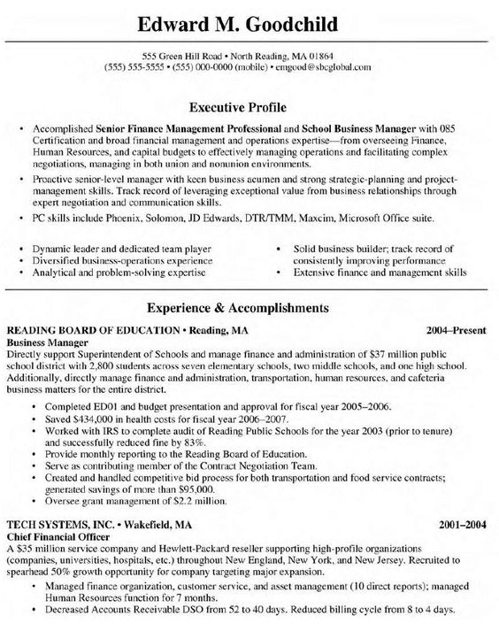resume examples business resume and resume on pinterest