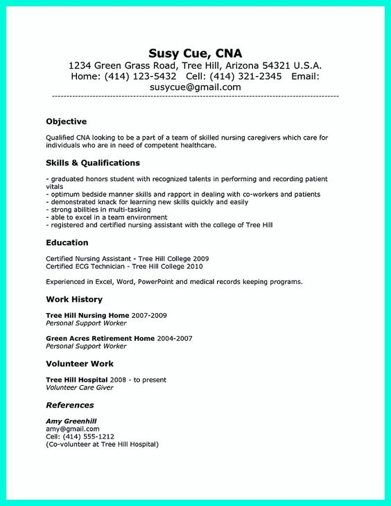 Resumes For Cna Examples. Cover Letter Cna Resume Examples Cna