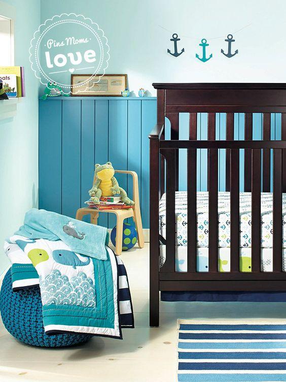 Circo 4pc Crib Bedding Set Whales N Waves Baby Boy