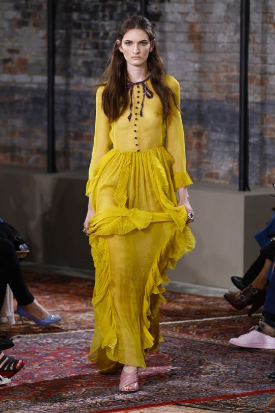 """These are the colours you'll be wearing in 2016: Buttercup """"Buttercup is all about sunlight, happiness and cheer — this one just speaks to give us a ray of sunshine, something to be hopeful about. It really energises,"""" says Leatrice Eiseman, Pantone Color Institute executive director, to WWD. Image: Gucci:"""
