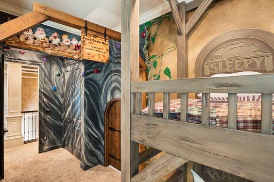 Disney Inspired Rooms Interiors Seven Dwarfs Inspired Bedroom  Bunk Beds Painted Walls
