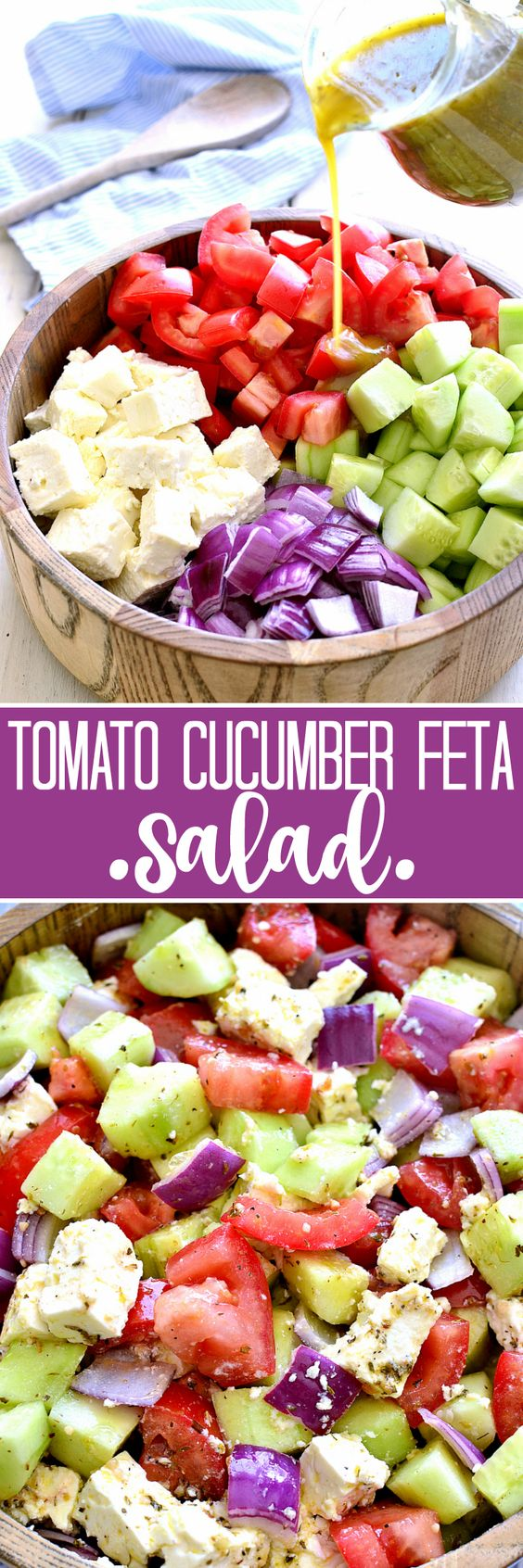 This Tomato, Cucumber & Feta Salad Recipe via Lemon Tree Dwelling is fresh, flavorful, and SO delicious! It comes together quickly with just a handful of ingredients and is one of their favorite go-to salads for summer!