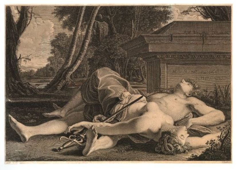 Pyramus and Thisbe lying dead, one over the other by the tomb in the countryside. after: Guido Reni (so-called) Print made by: Vincenzo Vangelisti:
