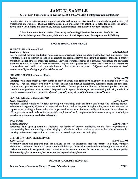 Customer assistant CV template resume - Dayjob