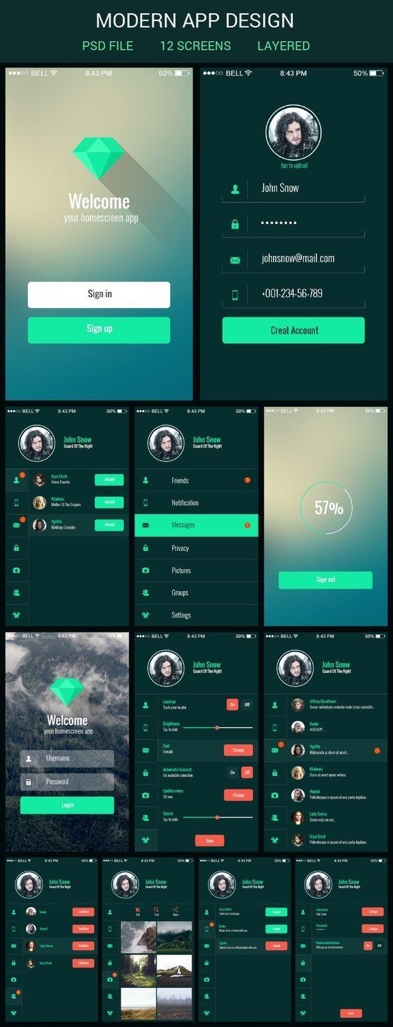 Mobile app ui kit App Pinterest Ui